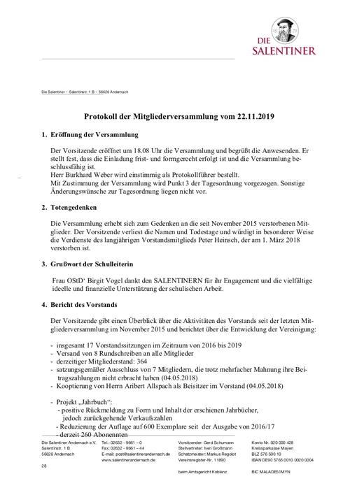 Protokoll der Mitgliederversammlung vom 22.11.2019